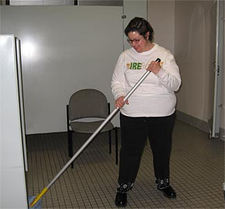 Laura, cleaning one of the most important rooms at STEP..