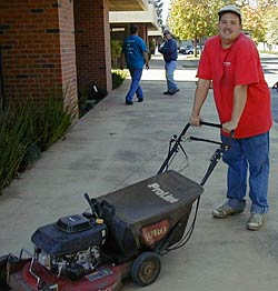 Stuart with one of the mowers